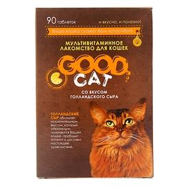 Мультивитаминное лакомство GOOD CAT для кошек, голландский сыр, 90 таб