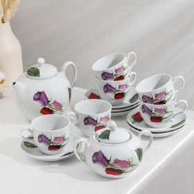 Сервиз чайный «Королева цветов», 14 предметов: чайник 1 л, сахарница 600 мл, 6 чашек 250 мл, 6 блюдец d=14 см