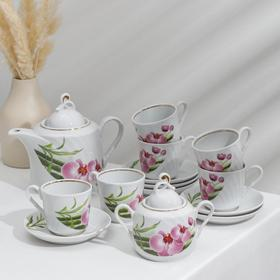 Сервиз чайный «Голубка. Бамбуковая орхидея», 14 предметов: чайник 1 л, сахарница 400 мл, 6 чашек 220 мл, 6 блюдец 14 см