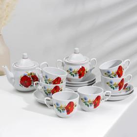 Сервиз чайный «Маки красные», 14 предметов