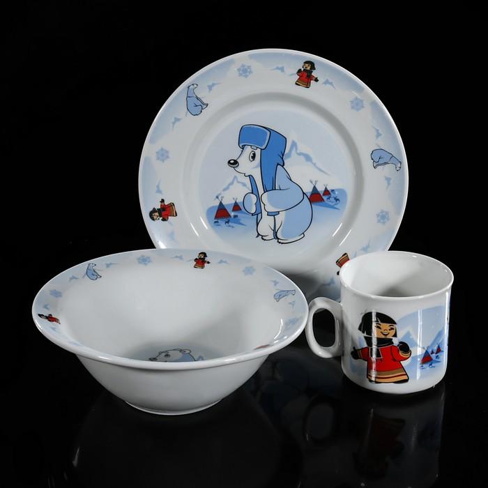 "Набор посуды детский ""Умка"", 3 предмета: блюдце, кружка 250 мл, миска 300 мл"