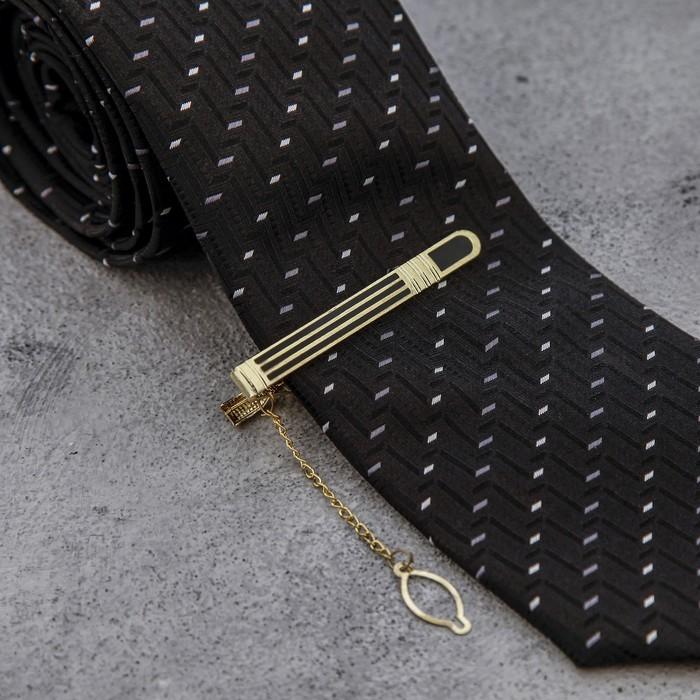 """Зажим для галстука """"Классика"""", полоса с эмалью, цвет чёрно-золотой"""