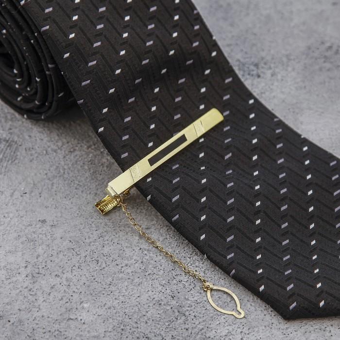 """Зажим для галстука """"Классика"""" с точечным нанесением, цвет чёрно-золотой"""