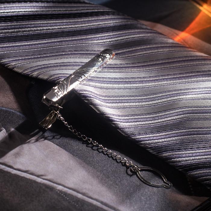 """Зажим для галстука """"Классический"""" ажурный, цвет серебряный"""