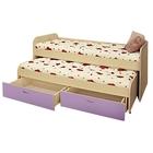 Кровать 2-ярусная Антошка, 1960х860х860, Дуб молочный/Лиловый, с матрасами