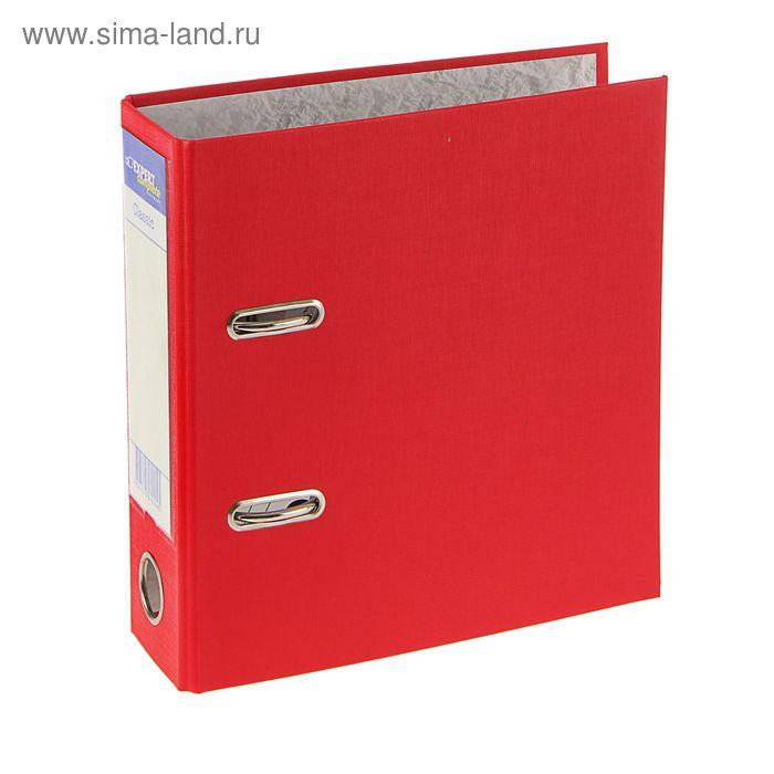 Папка-регистратор А5, 75мм PVC Classic, торцевой карман, красный