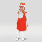 """Карнавальный костюм для девочки """"Лиса с грудкой из воланов"""", велюр, сарафан, шапка, от 1,5-3-х лет, рост 86-98 см"""