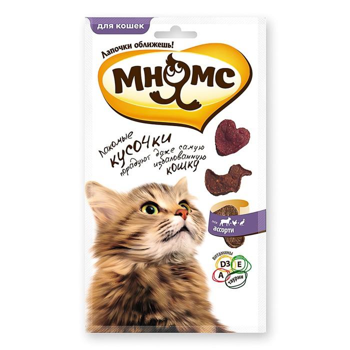 """Лакомые кусочки """"Мнямс"""" для кошек, мясное ассорти, курица, ягненок, утка, 35 г"""