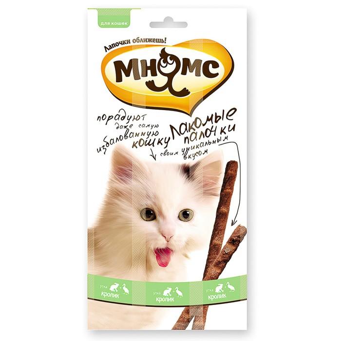 Лакомые палочки Мнямс для кошек, с уткой и кроликом, 3 х 5 г