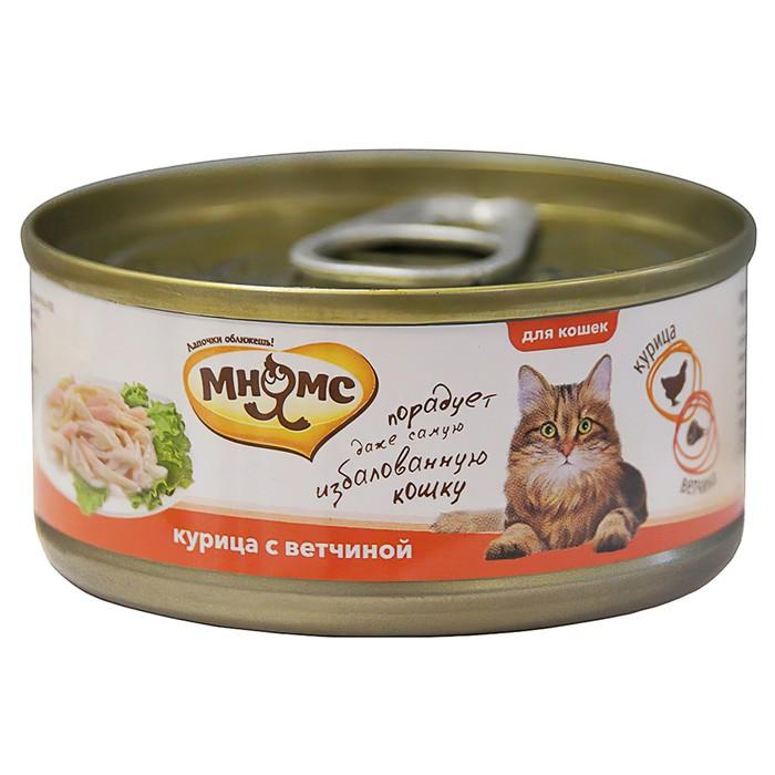 Консервы для кошек Мнямс курица с ветчиной в нежном желе, 70 г