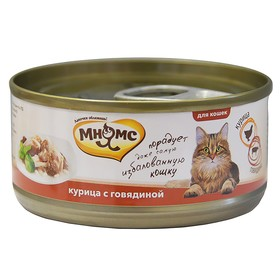 """Влажный корм """"Мнямс"""" для кошек, курица с говядиной в нежном желе, ж/б, 70 г"""