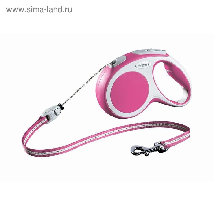 Рулетка Flexi VARIO М (до 20 кг) 5 м трос, розовая