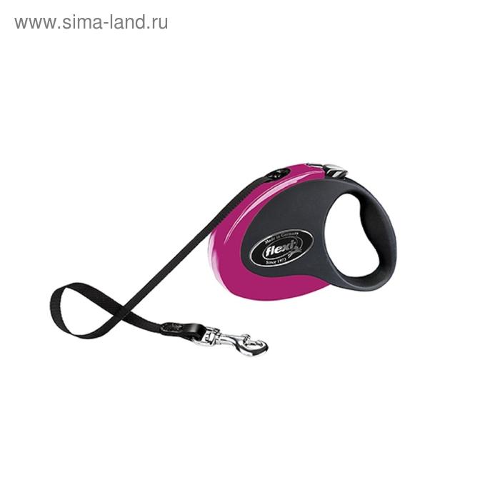 Рулетка Flexi  Collection S (до 12 кг) 3 м лента, черная/розовая