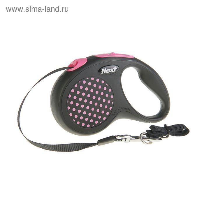 Рулетка Flexi  Design S (до 15 кг) 5 м лента, черная/розовый горошек