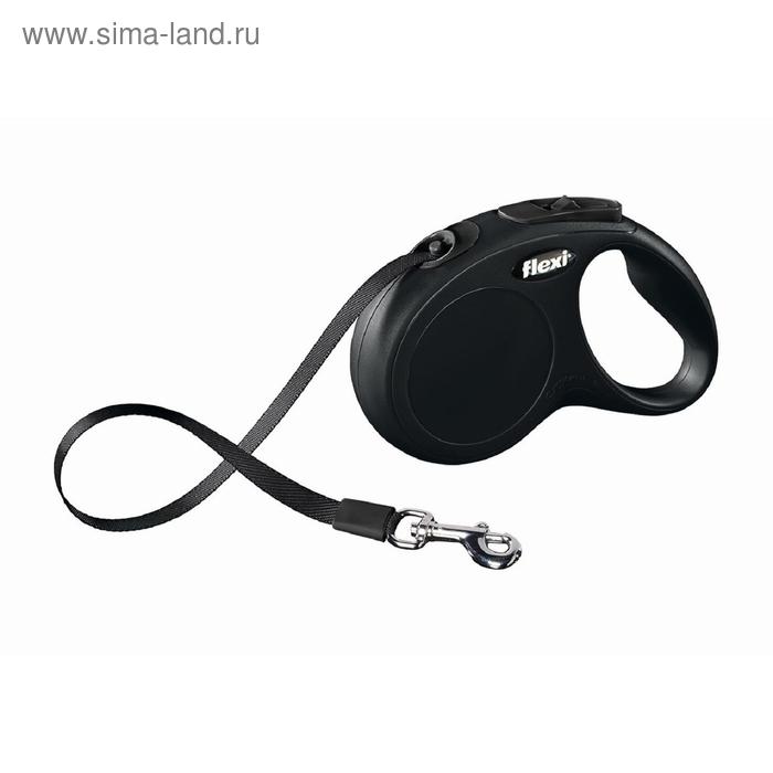 Рулетка Flexi  New Classic M/L (до 50 кг) 5 м лента, черная