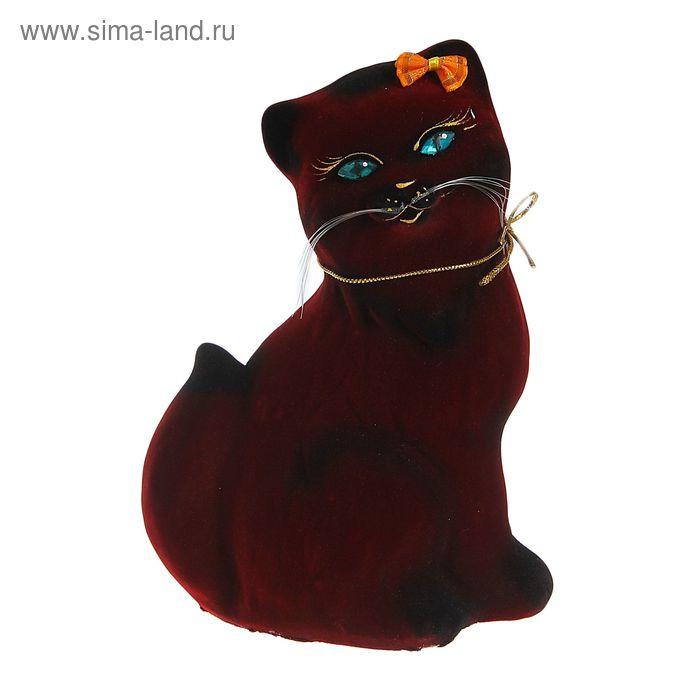 """Копилка """"Кошка Сима"""" малая, флок, бордовая"""