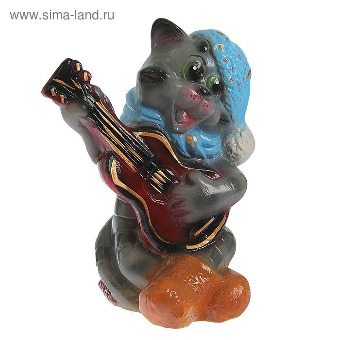 """Копилка """"Кот с гитарой """" глянец, серая"""