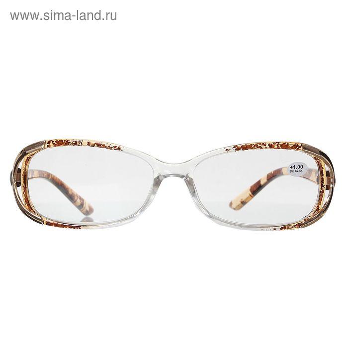 """Очки """"Прямоугольные"""", пластик, цвет бело-коричневый, +1 дптр"""