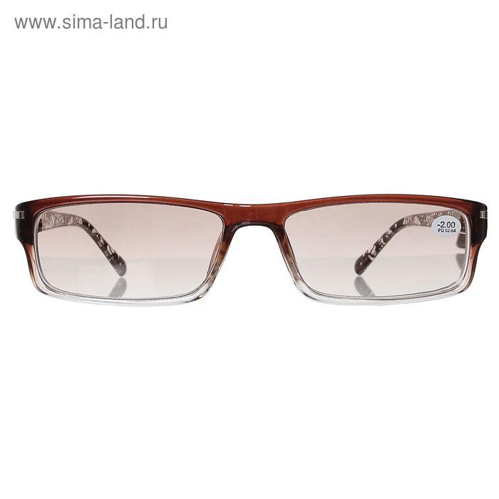 """Очки """"Прямоугольные"""", паутинка, полуободок, тонированная линза, цвет коричнево-белый, -2 дптр"""