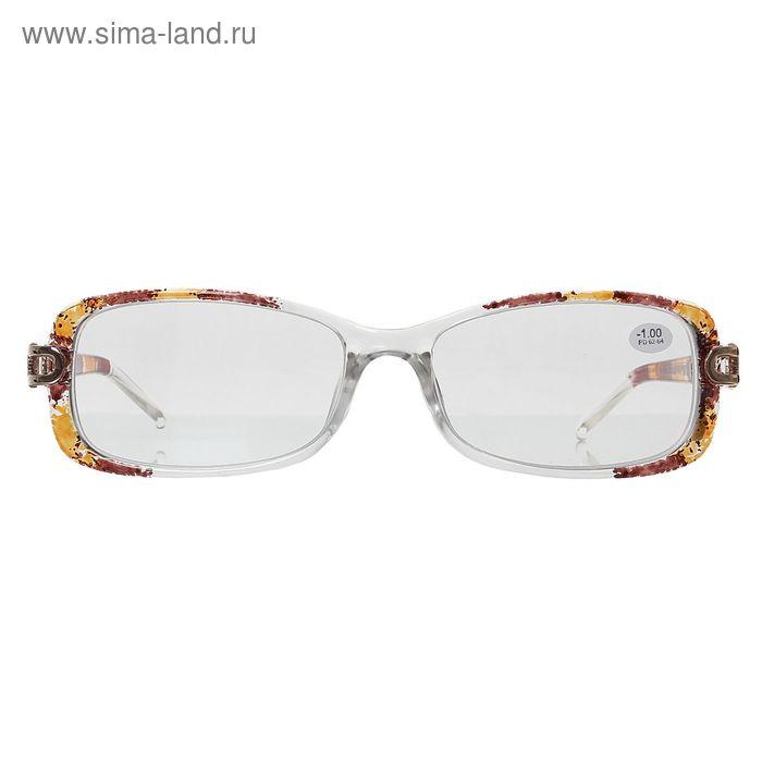 "Очки ""Бабочки"", пластик, узор на дужке, цвет бело-коричневый, -1 дптр"