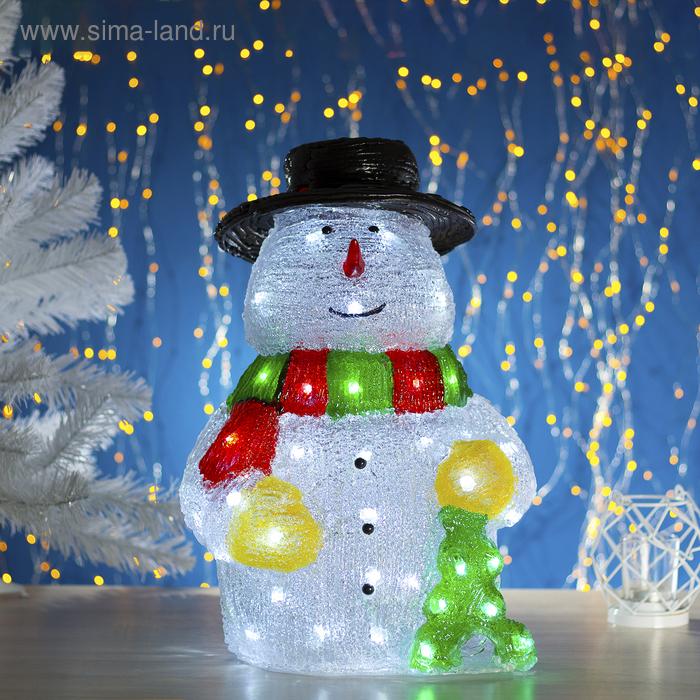 "Фигура акрил. ""Снеговик с елкой"" 29х24х45 см, 220V, 50 LED, контроллер 8 режимов"