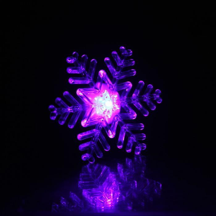"""Игрушка световая """"Снежинка"""" (батарейки в комплекте) на подставке и присоске 10 см"""
