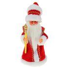 Дед Мороз, в красной шубе и шапке, с посохом, русская мелодия