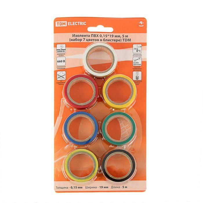Изолента TDM ПВХ, 19 мм х 5 м, 0.15 мм, набор из 7 цветов в блистере, SQ0526-0051