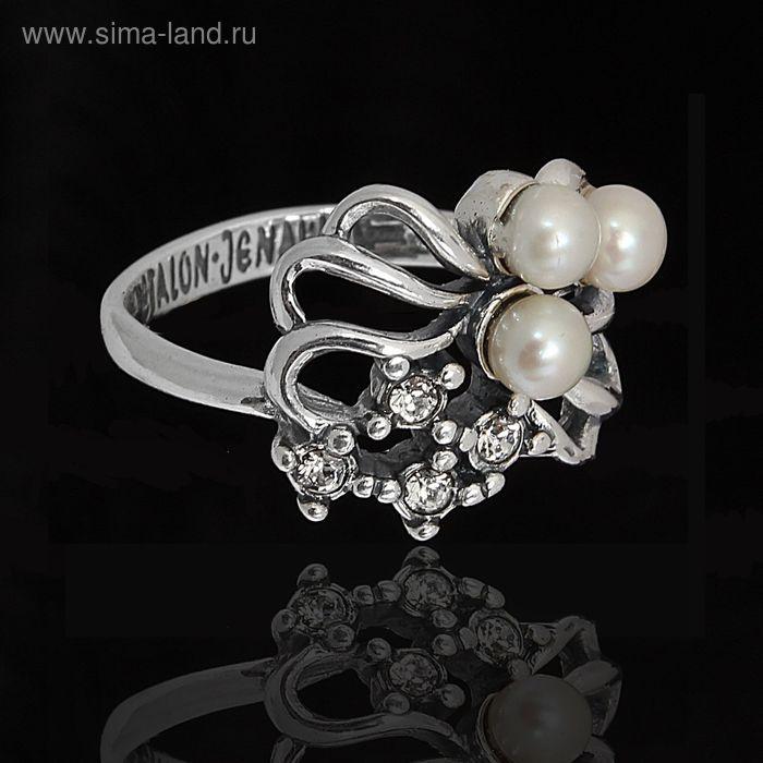 """Кольцо """"Биаро"""". размер 18, цвет белый в чернёном серебре"""