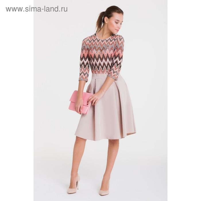 Платье 4916 С+, размер 50, рост 164 см, цвет кремовый/беж/лосось