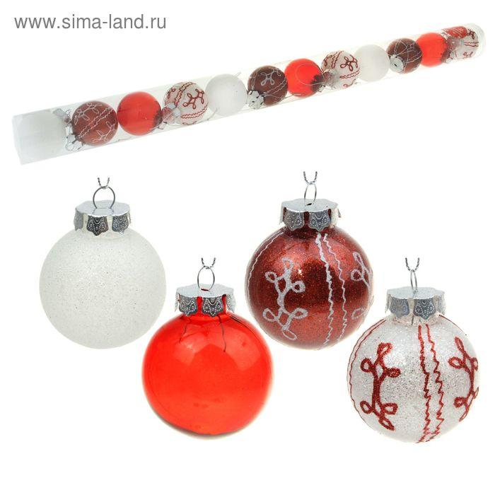 """Новогодние шары """"Бело-красное мерцание"""" завитки (набор 12 шт.)"""