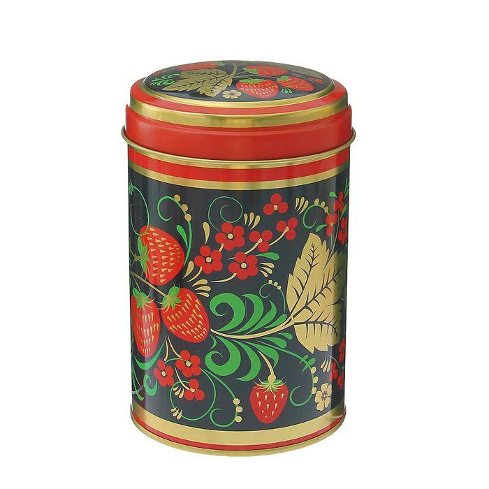 Банка для сыпучих продуктов «Русский узор Клубника», 9,9×14,5 см, 1,1 л