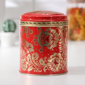 Банка для сыпучих продуктов Рязанская фабрика жестяной упаковки «Русский узор Цветы», 0,8 л, круглая
