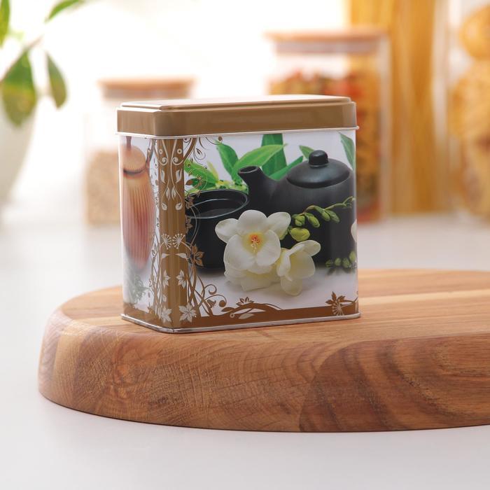 Банка для сыпучих продуктов «Чайная церемония», 6,7×9,8×9,8 см, 0,6 л, цвет МИКС