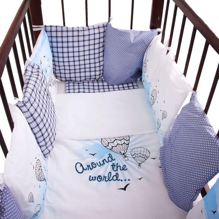 """Комплект в кроватку """"Эдельвейс"""" (6 предметов), цвет голубой 10010"""