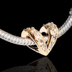 Бусина 'Сердце стр.', цвет белый в золоте Ош