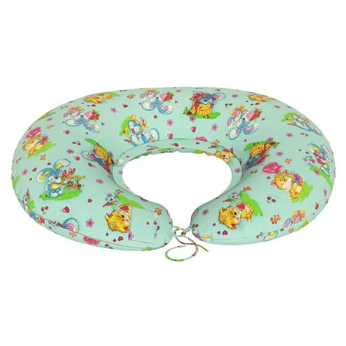 Подушка для беременных Подкова, ткань бязь, принт милашки, гранулы
