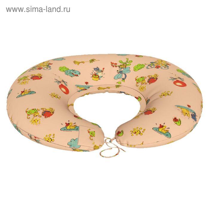 Подушка для беременных Подкова, ткань бязь, принт зверьки, гранулы