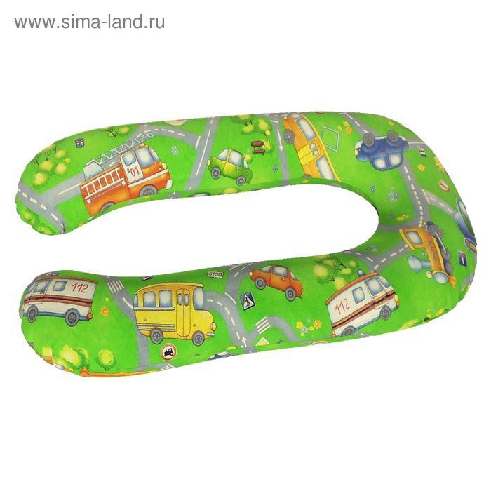 Подушка для беременных Комфорт, ткань поплин, цвет светофор, чипсы