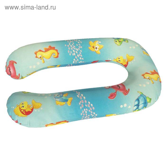 Подушка для беременных Комфорт, ткань поплин, цвет морская сказка, чипсы