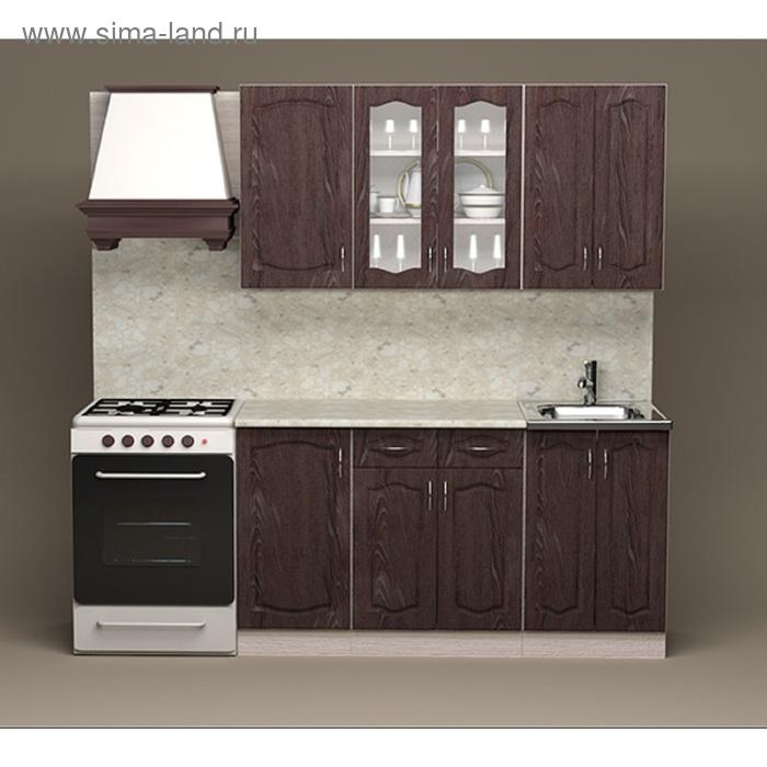 Кухонный гарнитур Ночь Дуб шоколадный 1500