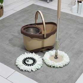 Набор для уборки: ведро на ножках с металлической центрифугой 20 л, швабра, запасная насадка из микрофибры цвет МИКС - фото 7409447