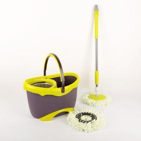 Набор для уборки: ведро на ножках с металлической центрифугой 20 л, швабра, запасная насадка из микрофибры цвет МИКС - фото 7424591