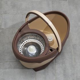 Набор для уборки: ведро на ножках с металлической центрифугой 20 л, швабра, запасная насадка из микрофибры цвет МИКС - фото 4644113