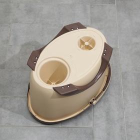 Набор для уборки: ведро на ножках с металлической центрифугой 20 л, швабра, запасная насадка из микрофибры цвет МИКС - фото 4644114