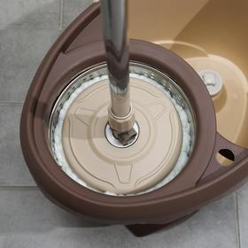 Набор для уборки: ведро на ножках с металлической центрифугой 20 л, швабра, запасная насадка из микрофибры цвет МИКС - фото 7409449