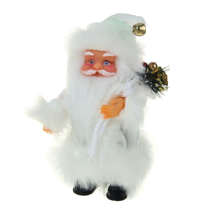 Дед Мороз, в пушистой шубе, с подарком, музыкальный