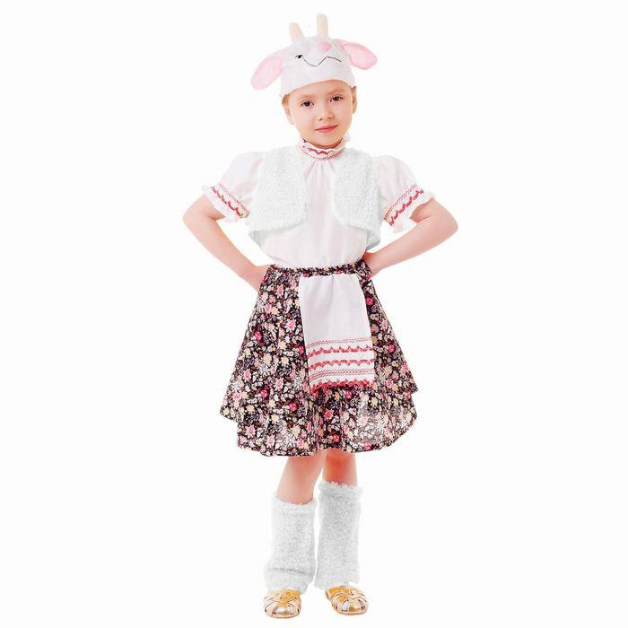 """Карнавальный костюм """"Овечка"""", блузка, юбка с фартуком, меховой жилет, шапка, гетры, р-р 60, рост 110-116 см"""