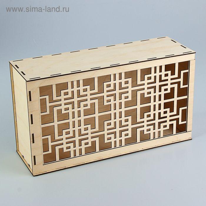 Подарочная коробка-пенал с китайским рисунком, 35,5 х 20 х 12 см, белый