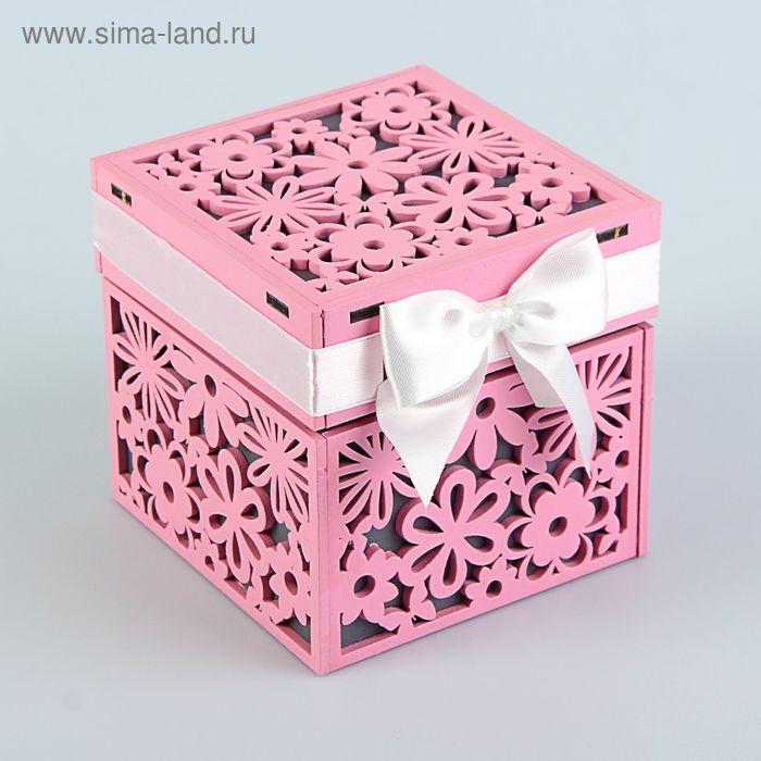"""Подарочная коробочка """"Цветы"""" с крышкой, 10 х 10 х 10 см, розовый-серый"""